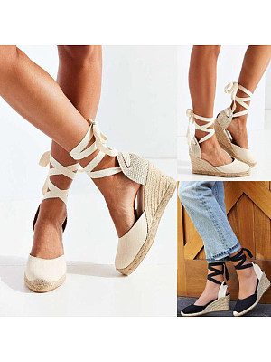 Color Block Plain High Heeled Velvet Ankle Strap Round Toe Outdoor Wedge Sandals фото