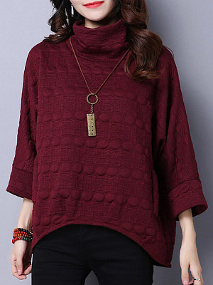High Neck Loose Fitting Plain Blouses