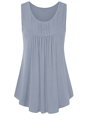 Round Neck Decorative Buttons Loose Fitting Plain Sleeveless T-Shirts, 6946227