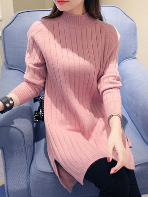 High Neck Side-Vented Plain Longline Pullover фото