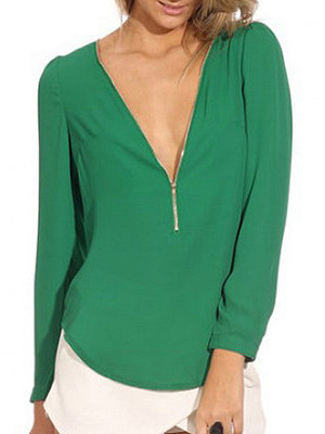 Autumn Spring Summer Polyester Women V-Neck Zips Plain Long Sleeve Blouses, 4923308