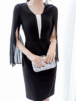 Round Neck Patchwork Color Block Bell Sleeve Bodycon Dress фото