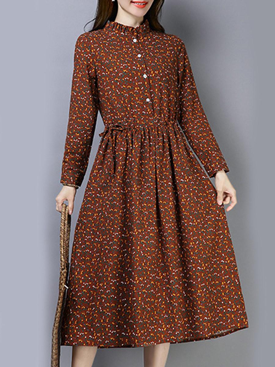 Round Neck Drawstring Printed Maxi Dress
