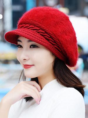 Lady Elegant Stylish Beading Decoration Woolen Hats For Winter
