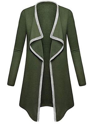 Asymmetric Neck Contrast Trim Plain Long Sleeve Coats
