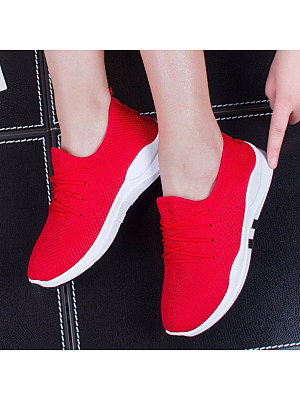 Low Heeled Criss Cross Round Toe Casual Sport Sneakers, 4575403