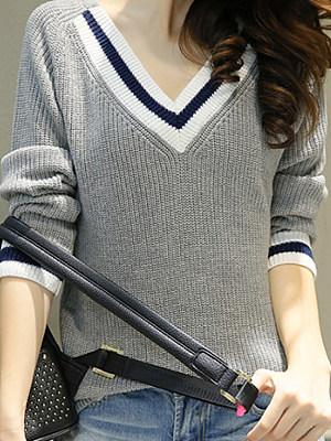 V Neck  Patchwork  Brief  Long Sleeve  Knit Pullover