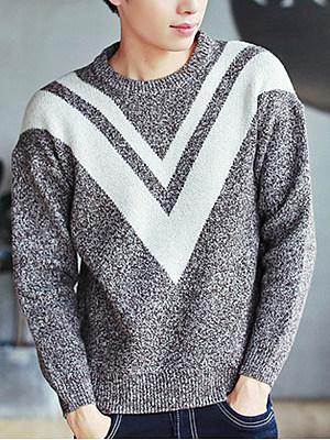 Crew Neck  Color Block Men'S Sweater