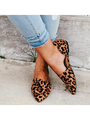 Animal Printed Plain Point Toe Flats, 9498709