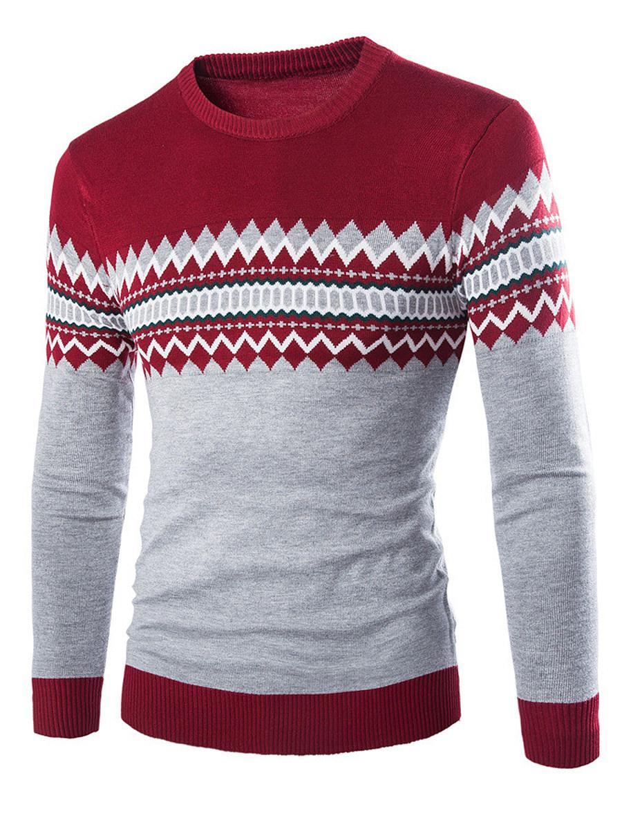 Round Neck Zigzag Striped Men?ÇÖS Sweater
