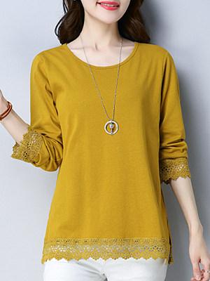 Round Neck Patchwork Elegant Plain Long Sleeve T-Shirt, 10013908