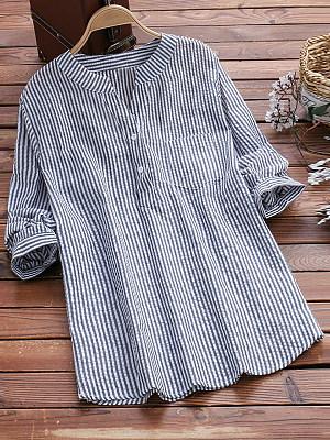 V Neck Loose Fitting Stripes Blouses, 6192132