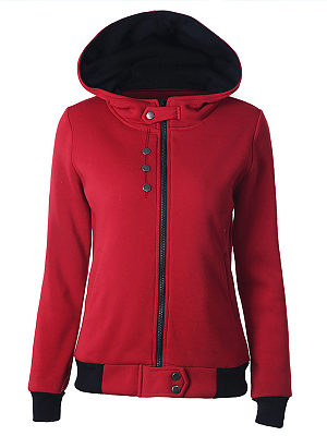 Sportive Button Zipper Long Sleeve Pure Colour Hoodies, 8385907
