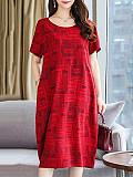 Round Neck Patch Pocket Printed Shift Dress
