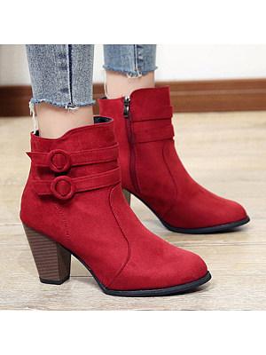 Plain Chunky High Heeled Velvet Round Toe Date Outdoor Short High Heels Boots, 5294645