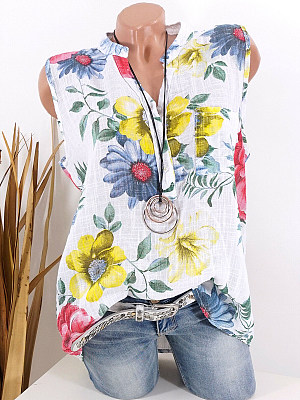 Band Collar Patch Pocket Floral Printed Blouses, 7160818