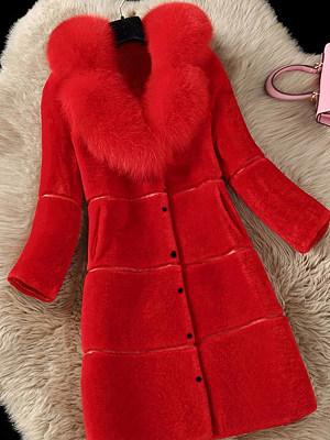 BERRYLOOK / Faux Fur Collar  Slit Pocket Snap Front  Plain Coats