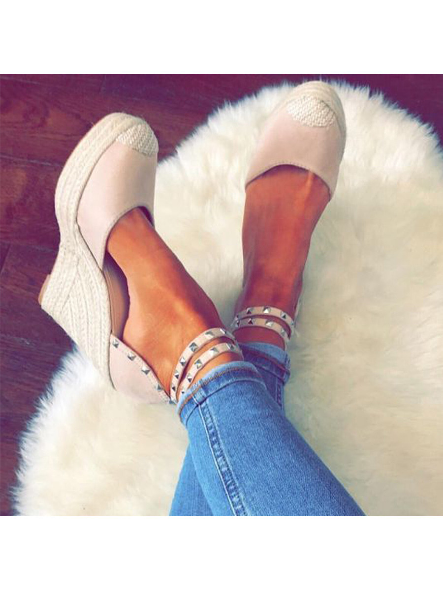 Plain  Velvet  Ankle Strap  Round Toe  Date Wedge Sandals