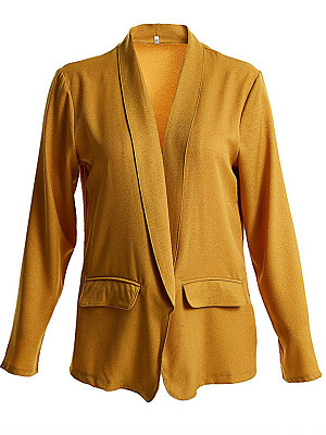 Lapel Plain Long Sleeve Fashion Blazers фото