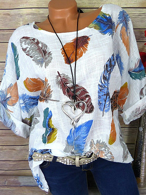 Round Neck Patchwork Feather Blouses, 7125832