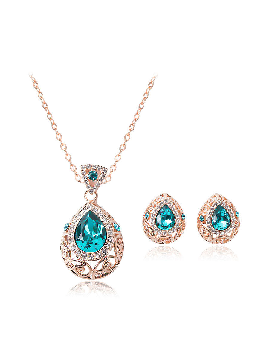 Luxury Green Rhinestone Jewelry Sets