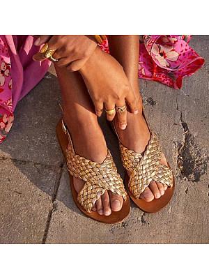 Plain Flat Peep Toe Date Travel Flat Sandals, 7354763