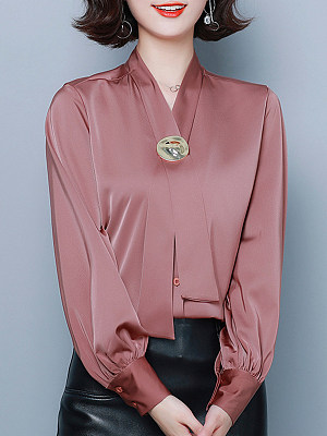 V Neck Patchwork Elegant Decorative Hardware Plain Long Sleeve Blouse, 9759631