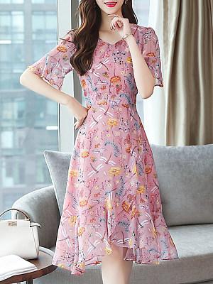 Sweet Heart Asymmetric Hem Floral Printed Bell Sleeve Skater Dress, 6963550