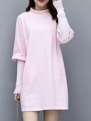 Round Neck Patch Pocket Patchwork Plain Shift Dress, 9736541
