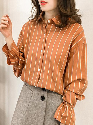 Turn Down Collar Loose Fitting Stripes Bell Sleeve Blouses