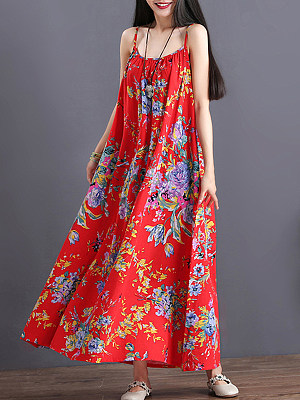 Berrylook Spaghetti Strap Floral Printed Maxi Dress shoping, online sale, Oversized Maxi Dresses, petite dresses, tunic dress