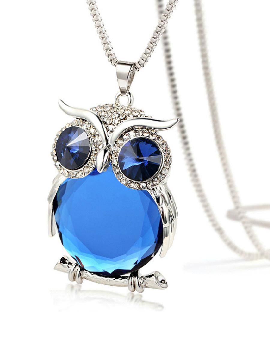 Blue Crystal Owl Shape Long Necklace