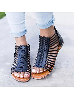 SOCOFY Plain Flat Ankle Strap Peep Toe Casual Gladiator Sandals фото