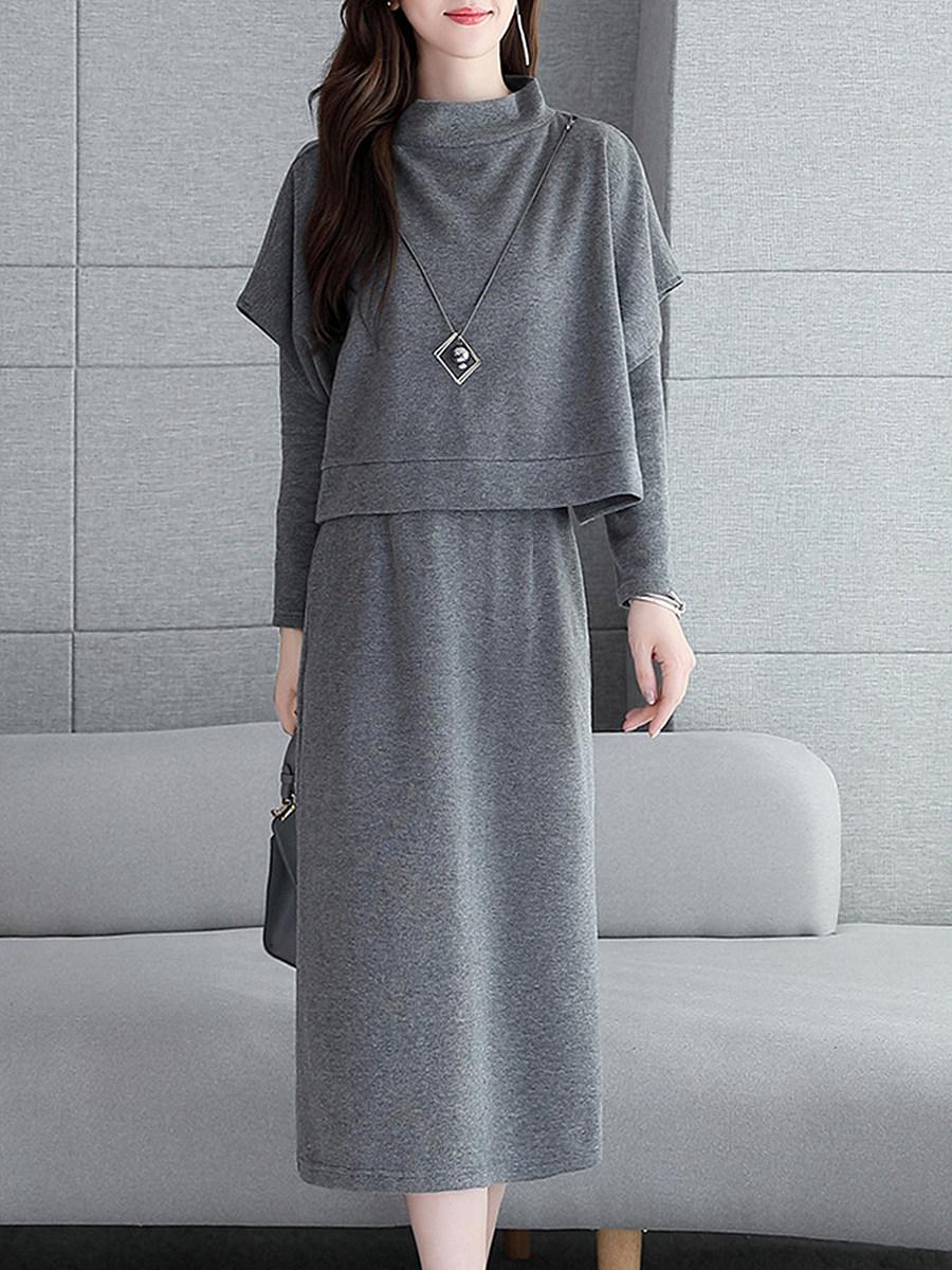 BerryLook Round Neck  Plain Two-Piece Shift Dress
