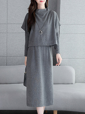 Round Neck Plain Two-Piece Shift Dress фото