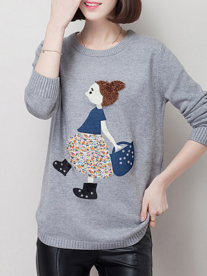 Round Neck Patchwork Cute Applique Long Sleeve Knit Pullover, 8475925