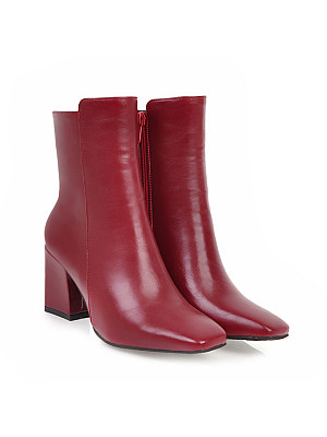 berrylook Plain Chunky High Heeled Square Toe Date Outdoor Short High Heels Boots