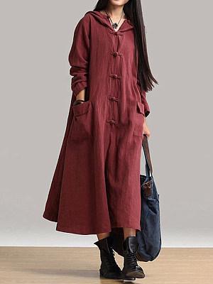 Hooded Flap Pocket High Slit Plain Maxi Dress