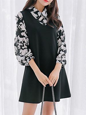 Fold Over Collar Patchwork Floral Printed Shift Dress