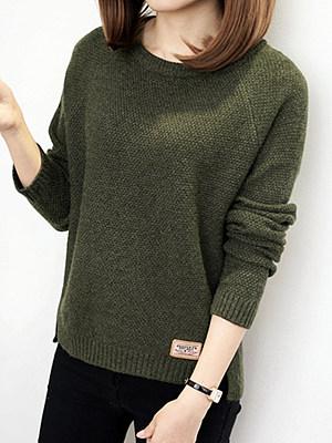 Round Neck Patchwork Elegant Plain Long Sleeve Knit Pullover, 8921001
