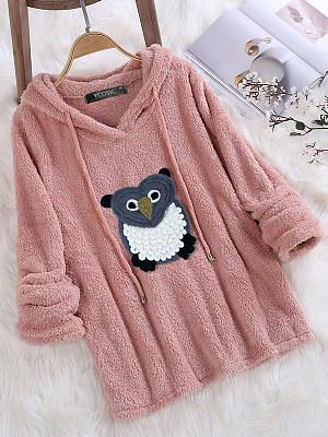 Autumn Owl Pattern Drawstring Hooded Sweatshirt, 8361325