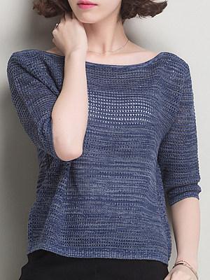Round Neck Patchwork Elegant Plain Half Sleeve Knit Pullover, 8510310