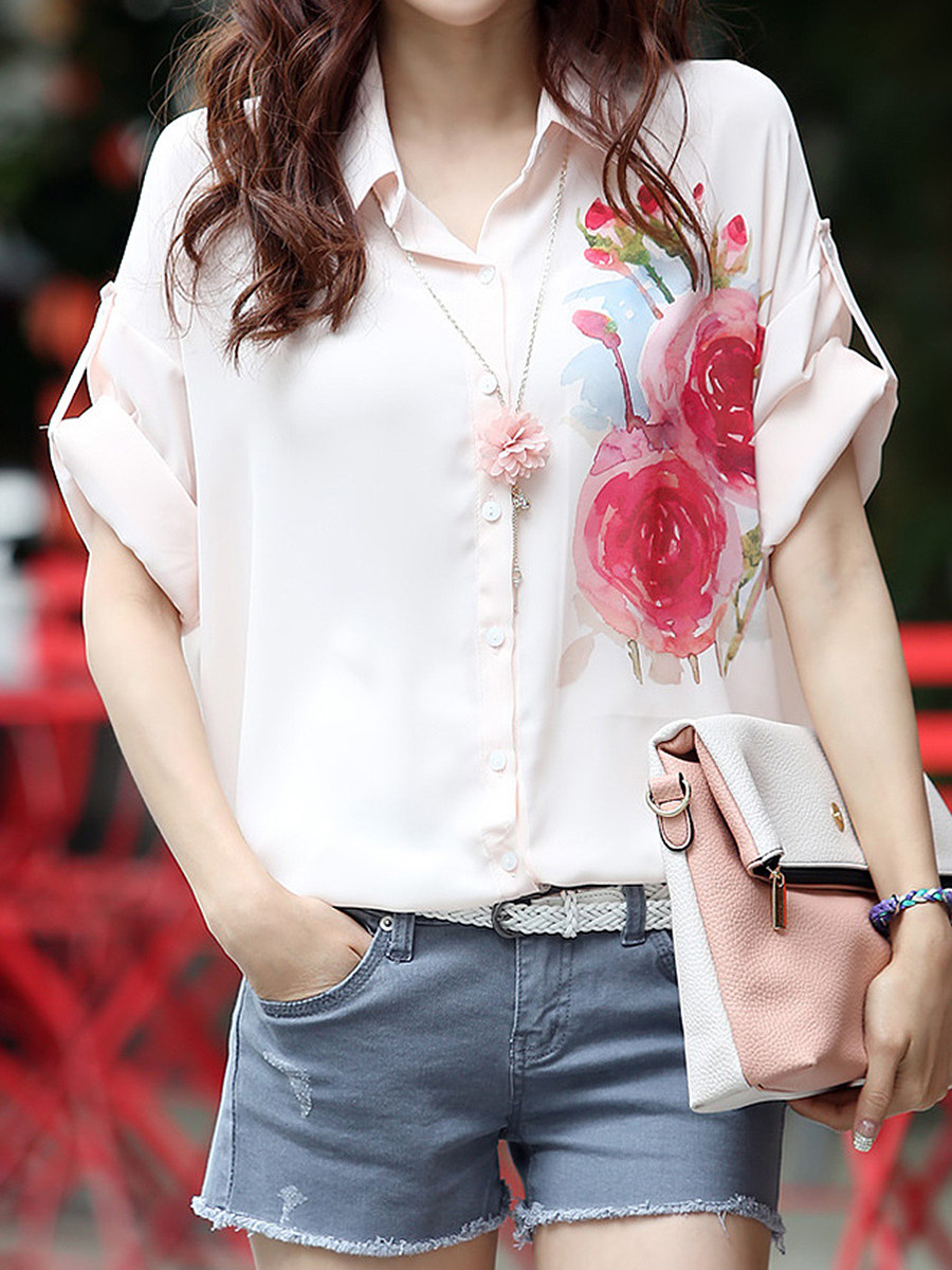 Floral Printed Roll-Up Sleeve Blouse
