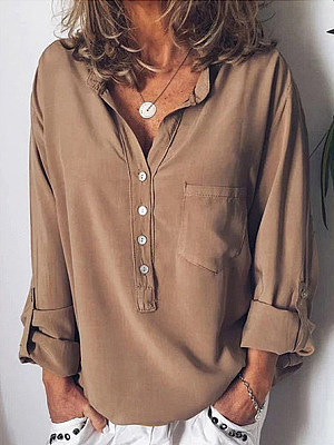 Turn Down Collar Loose Fitting Single Breasted Plain Blouses, 6873989