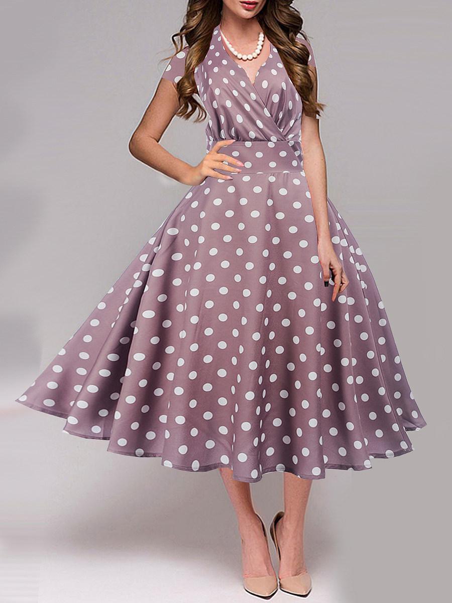 V Neck Polka Dot Maxi Dress
