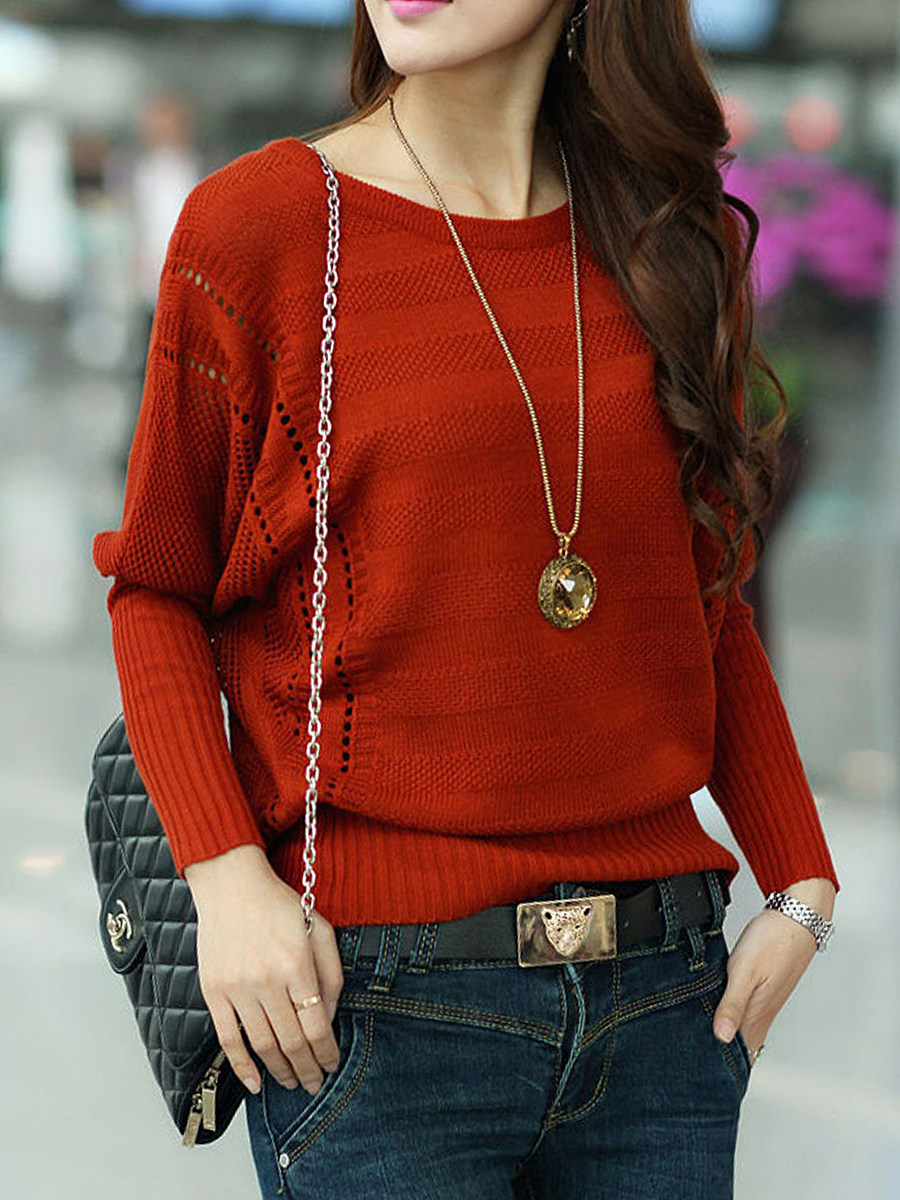 Round Neck  Hollow Out Plain  Batwing Sleeve Pullover
