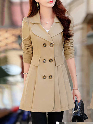 Fold Over Collar Double Breasted Belt Loops Plain Trench Coat фото