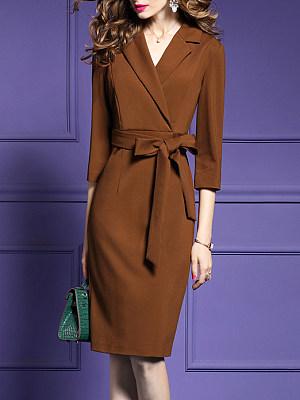 Fold-Over Collar Plain Bodycon Dress, 5329105