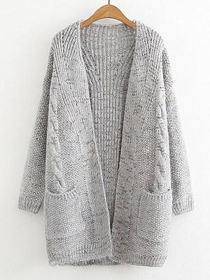 Patchwork  Medium  Elegant  Long Sleeve  Knit Cardigan