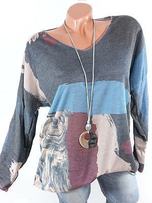 V Neck Loose Fitting Color Block Long Sleeve T-Shirts, 6053312
